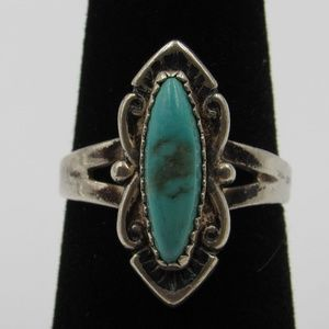 Vintage Size 6.5 Sterling Rustic Blue Stone Ring